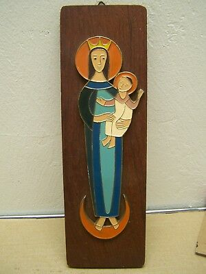 1960s Virgin Madonna and Child Mounted Colored Metal Craft on Wood - Ecuador