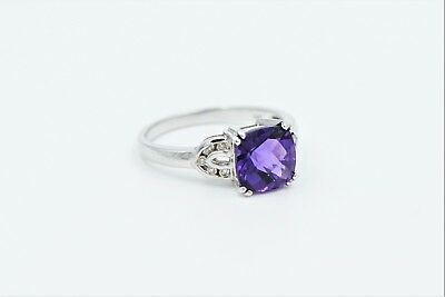 14k White Gold Amethyst And Diamond Ring Antique Cushion Checkerboard Cut Size 7