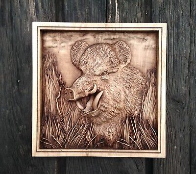 Wood carving picture -Wild Boar