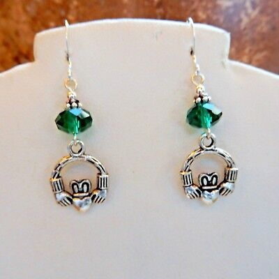 Silver Irish Claddagh earrings with Crystal beads, Celtic