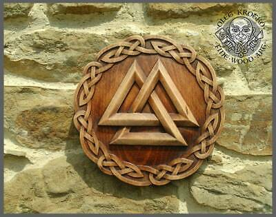 Hand made wood carved picture Walknut. Viking Norse Odin Thor Knotwork Rune
