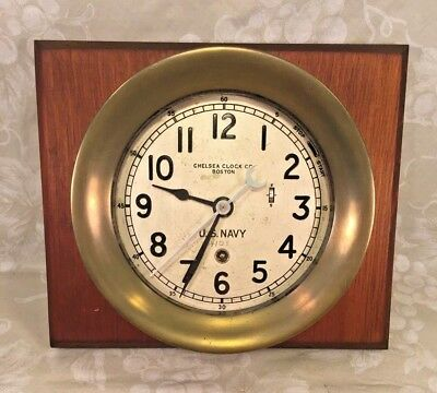 """Vtg Chelsea US Navy Zig Zag Clock WWII  1941 Running 7.25"""" Case Rare and Unique"""