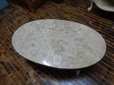 Vintage Oval Marble Top Coffee Table