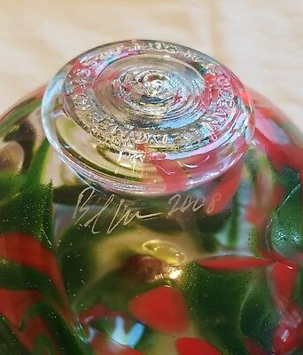 """Oregon Coast Artist Signed 6"""" Sitting Glass Float Swirled Green and Red"""