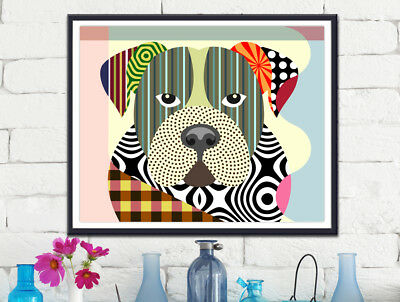 American Bulldog Pop Art Print  Painting Animal Lover Pet Gift Wall Decoration