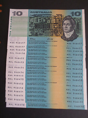 R313a $10 Dollars Fraser / Cole UNC Prefix Pair and Consecutive x8 (16 Notes)