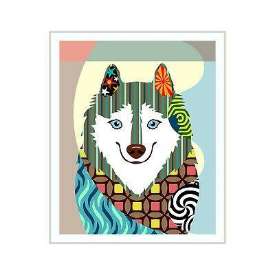 American Eskimo Print  Eskie Dog Portrait Alaskan Malamute Gift Wall Decoration