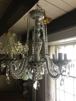 Czech Bohemian Crystal Chandelier 8 Arms Hand Painted. Very Rare 50's-70's