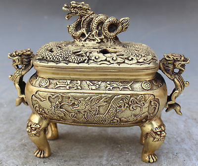 COLLECTIBLE Chinese Bronze Brass Dragon Carved Incense Burner XuanD Ming Dynasty