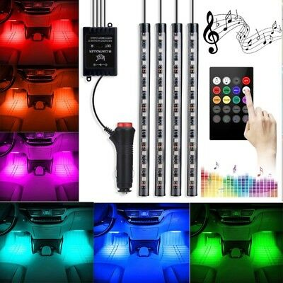 4pcs Car Interior Footwell LED RGB 8 Color Changing Music Remote SMD Strip Light