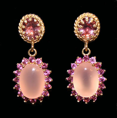 Earrings with Rose Quartz Cabochon and Rhodolite Yellow Gold from 925