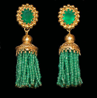 Earrings with tassels made of Green Agate, Yellow Gold from 925 Sterling Silver