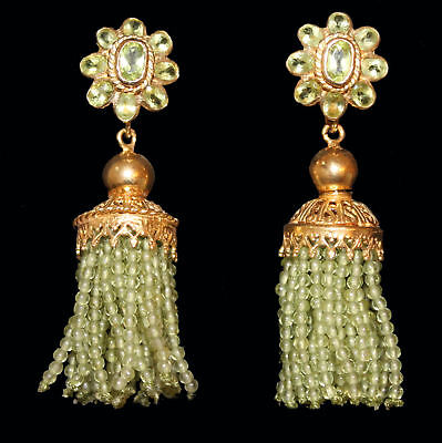 Earrings with tassels made of Peridot, Yellow Gold from 925 Sterling Silver