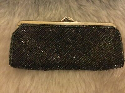 Ladies purse, coin purse, retro, beaded, double compartment, vintage, good cond.