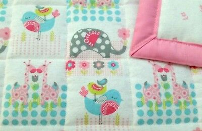 "HANDMADE ""ELEPHANTS & MORE""35x42in FLANNEL GIRLS BABY QUILTED BLANKET-GIFT IDEA"