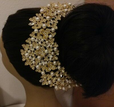 Gold Pearl Wedding Bridal Hairpiece Hair Comb Headpieces