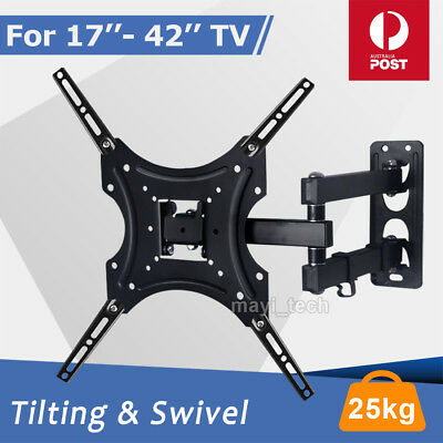 TV Wall Mount Bracket Swivel Full Motion Tilt VESA LCD LED 17 32 37 40 42 Inch