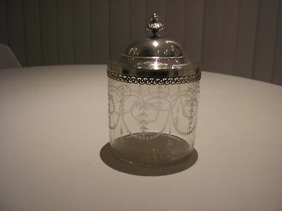 Antique Edwardian Cut Glass BISCUIT JAR with White metal or Silver Plated Lid