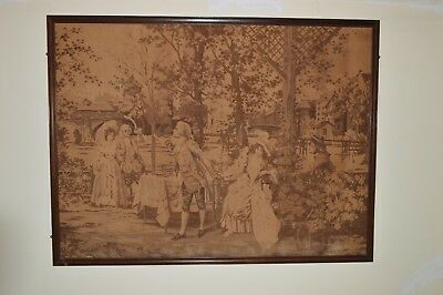 "D'Apres Alonzo- Perez Tapestry - Afternoon Tea Scene 80.25"" wide x 60"" high"