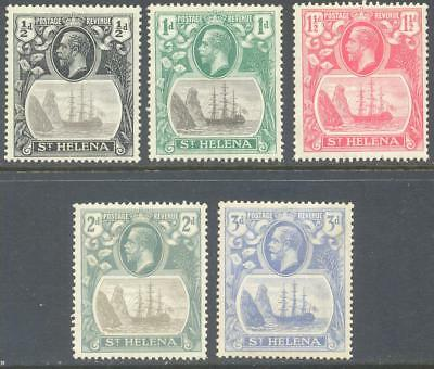 ST HELENA 1922/3 KG5 Badge Short Set to 3d (5) Mint