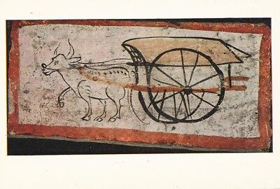 ANCIENT CHINESE ART PRINT POSTCARD Tomb Brick showing An Ox Cart