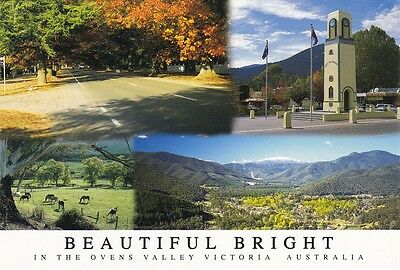 AUSTRALIAN MULTI-VIEW COLOUR POSTCARD Beautiful Bright in the Ovens Valley, VIC