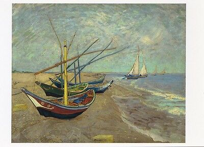 VINCENT VAN GOGH MUSEUM ART PRINT POSTCARD Fishing Boats on the Beach