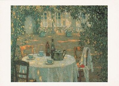 GARDEN ART PRINT POSTCARD Henri Le Sidanier : The Table in the Sun in the Garden