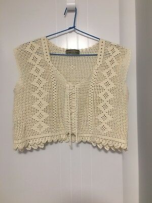 Womens Vintage Cream Crochet Knit Boxy Top S M Lace Up Cap Sleeves Crop Top