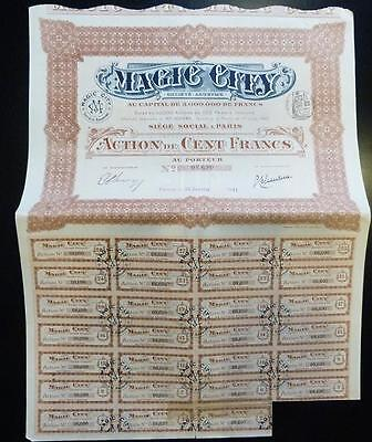 Action Titre 100 Francs MAGIC CITY Paris 1911 (30)