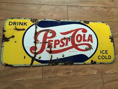 Porcelain Pepsi cola kick plate sign soda pop not Coca Cola