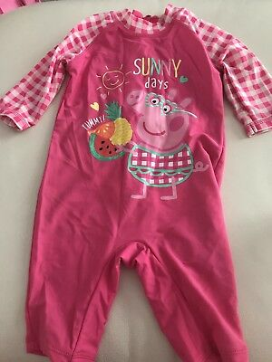 M & Co 6-9months Peppa Pig Baby Girl Sunsafe Swimsuit
