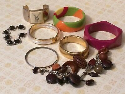 Vintage Lot of 8 Bracelets Avon, Nut, Cuff All Wearable