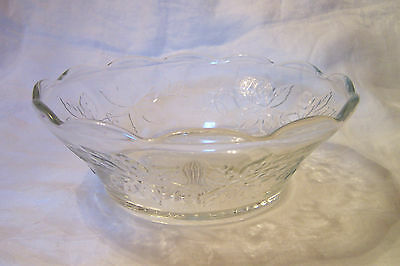 Vintage Large Heavy Glass Serving/Decorative Bowl with Leaves and Vines