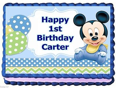 Mickey Mouse Baby Edible Cake Topper Birthday Decorations 1275
