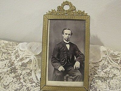 Antique Miniature Brass Picture Frame Victorian old vintage photography