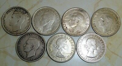 Lot of 7 - AUSTRALIA ONE 1 FLORIN SILVER COINS - 1944(4) 1947 1953 1954