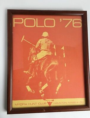 VINTAGE MYOPIA HUNT CLUB 1976 Polo Framed Program Hamilton Mass. Horse & Rider