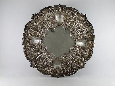 19th Century Persian Solid Silver footed tray sparrow birds around edges