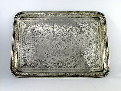 Antique Persian Silver Tray Marked 84 1123 Grams