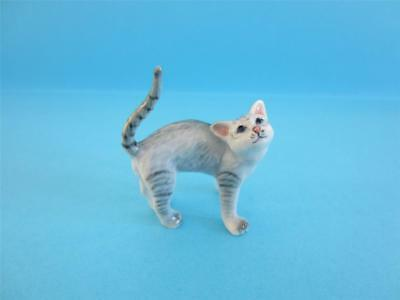 New Grey Tabby Cat Stretching His Back Figurine, Very Nice *mint*