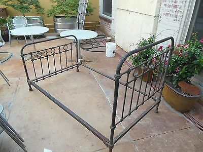 Beautiful Antique French Victorian Iron & Brass Bed  /  19th Century