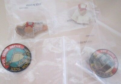 4 Pin Home Depot Kids Craft Workshop Hat Collectible Pin Lot Lapel Jacket
