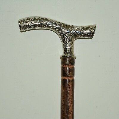 STEEL Walking Stick Vintage Brass DESIGNER Handle Head Cane Shaft RJ AU