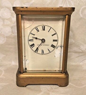 Antique Waterbury Carriage Clock w/ Alarm Running Button on Top for Alarm