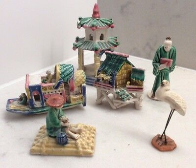 Vintage Miniature Bonsai Chinese Ornaments glazed  Ceramic Figure 6 pieces