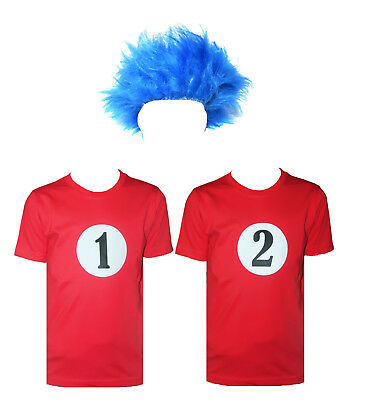 Kids Boy Blue Wig Thing 1 Thing 2 Red T-Shirt World Book Day Fancy Dress Costume