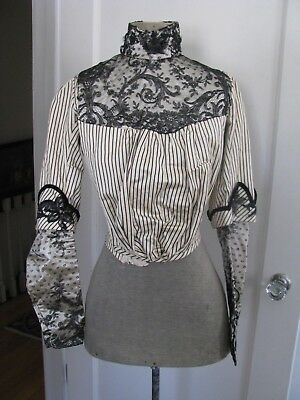 Antique Womans Bodice Clothing 1800's Handmade Top Boned Silk Lace Victorian