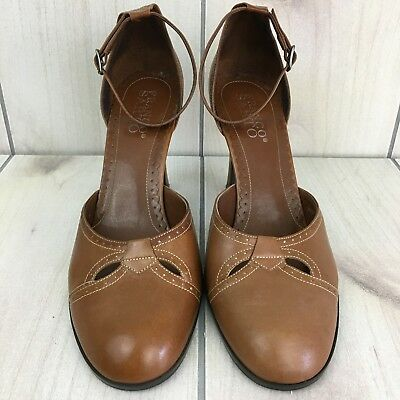 fb4f50ecd07 Franco Sarto Women s Shoes Leather Brown Ankle Strap Heels Pumps Size 10 M