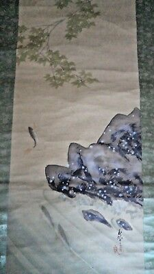 HUGE JAPANESE MEIJI c1900 SCROLL PAINTING JUMPING FISH IN RIVER - SIGNED